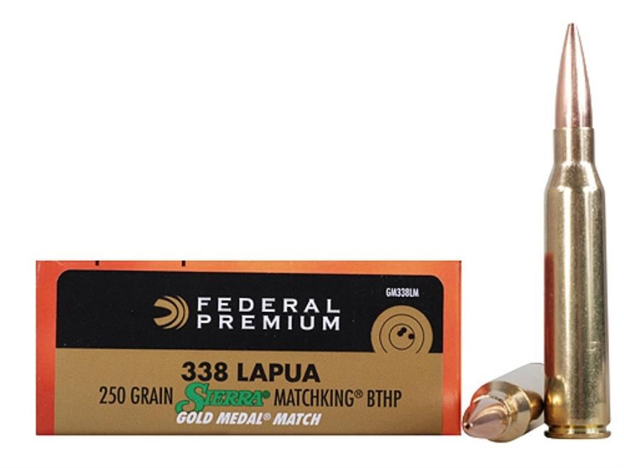 Federal Premium Gold Medal Ammunition 338 Lapua Magnum 250 Grain Sierra MatchKing Hollo...