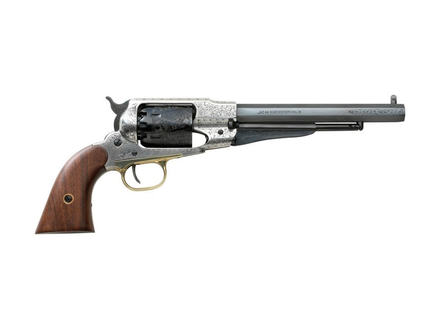 "Pietta 1858 Remington Black Powder Revolver 44 Caliber 8"" Barrel Old Silver Steel Frame..."