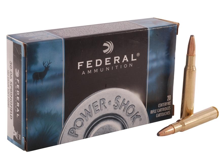 Federal Power-Shok Ammunition 30-06 Springfield 180 Grain Soft Point