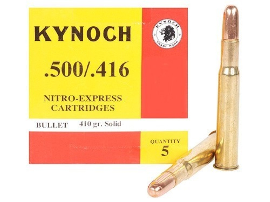 Kynoch Ammunition 500-416 Nitro Express 410 Grain Woodleigh Weldcore Solid Box of 5