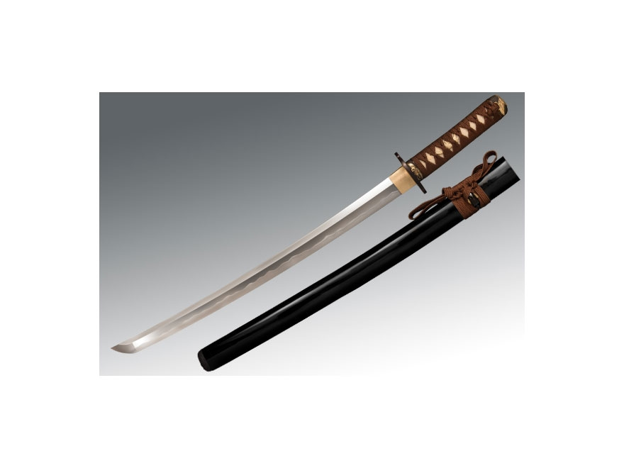 "Cold Steel Mizutori Wakizashi 21"" Damascus Steel Blade Ray Skin Handle Brown"