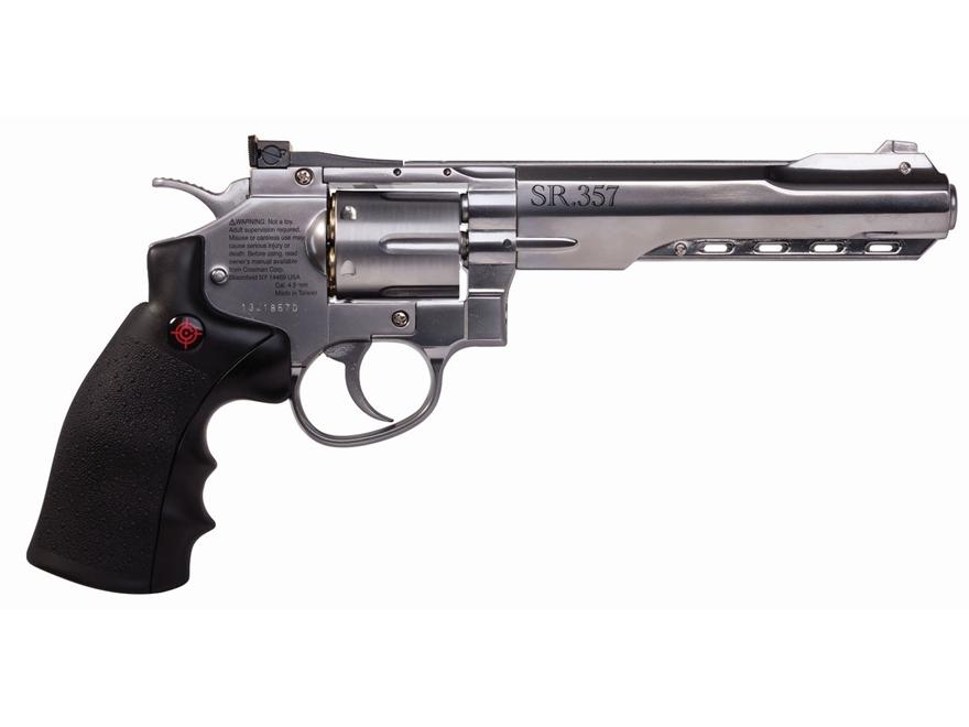 Crosman SR357 Air Pistol 177 Caliber BB Black Rubber Grips Stainless