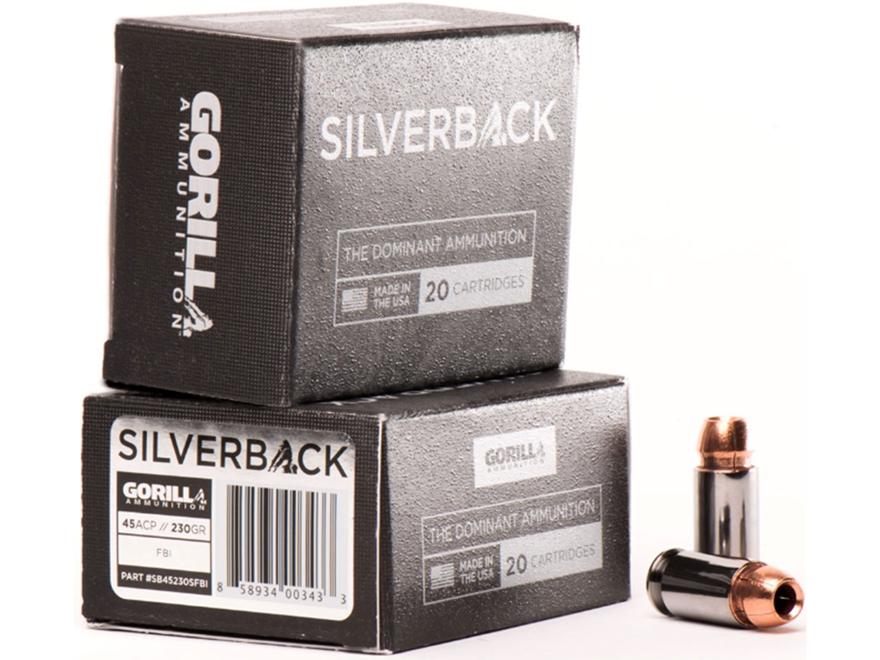 Gorilla Silverback Self Defense Ammunition 45 ACP FBI Penetration 230 Grain Hollow Poin...