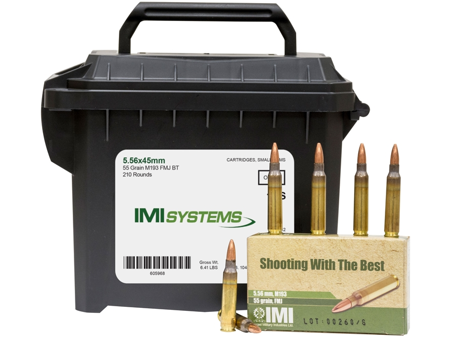 IMI Ammunition 5.56x45mm 55 Grain M193 Full Metal Jacket Boat Tail Ammo Can of 210 (7 B...