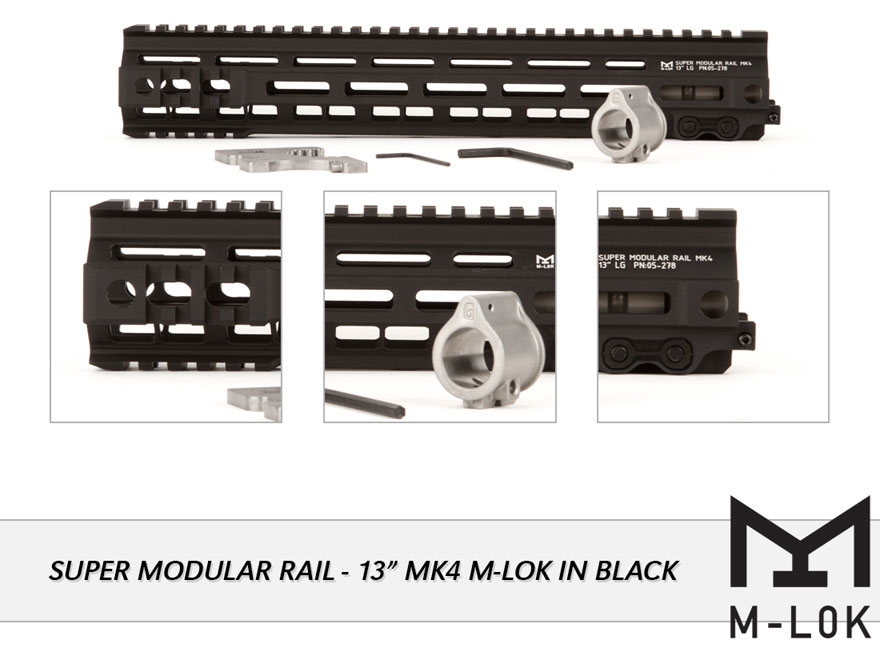 Geissele Super Modular Rail MK4 M-Lok Free Float Handguard with Low Profile Gas Block A...