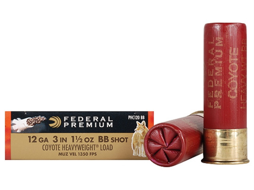 "Federal Premium V-Shok Heavyweight Coyote Ammunition 12 Gauge 3"" 1-1/2 oz BB Shot Box of 5"