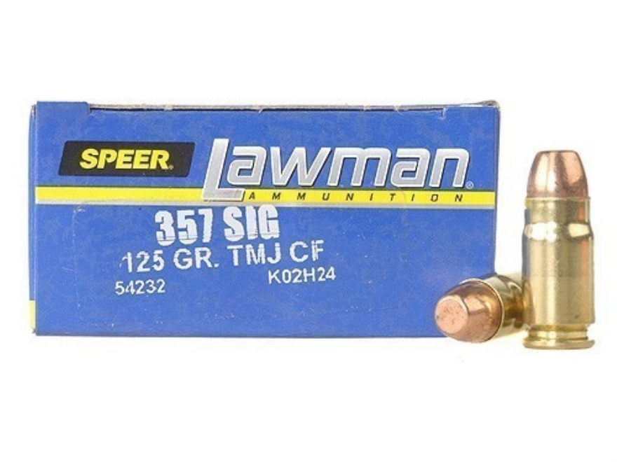 Speer Lawman Cleanfire Ammunition 357 Sig 125 Grain Total Metal Jacket Box of 50