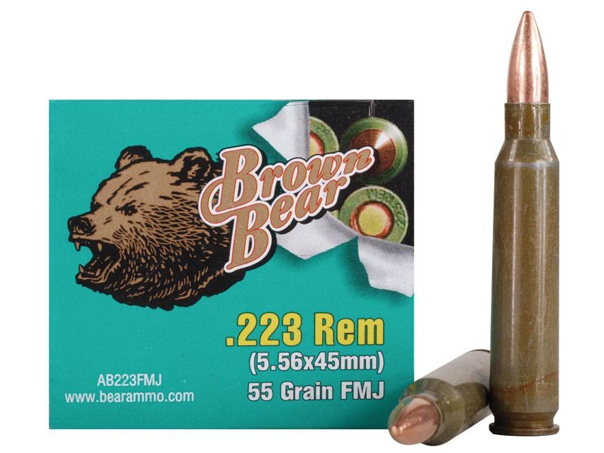 Brown Bear Ammunition 223 Remington 55 Grain Full Metal Jacket (Bi-Metal) Case of 500 (...