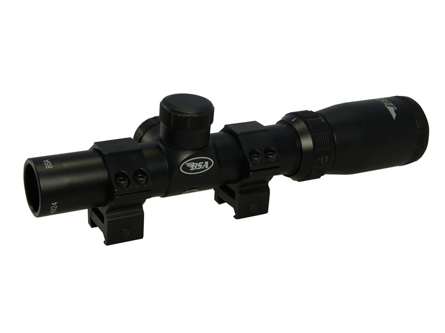 BSA Tactical Weapon 223 Rifle Scope 30mm Tube 1-4x 24mm Mil-Dot Reticle with Weaver-Sty...