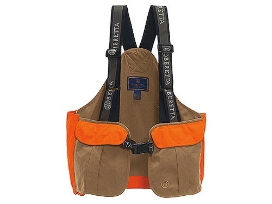 Beretta Men's Cordura Strap Vest Cotton and Cordura Tan and Blaze Orange XL/2XL