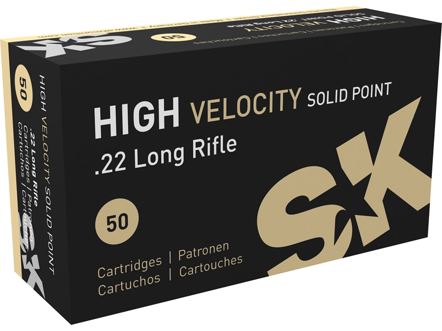SK High Velocity Ammunition 22 Long Rifle 40 Grain Lead Round Nose Box of 50