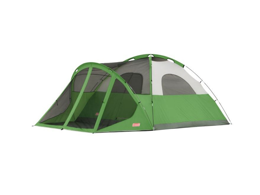 Coleman Evanston Screened 6-Person Modified Dome Tent Polyester Green and White