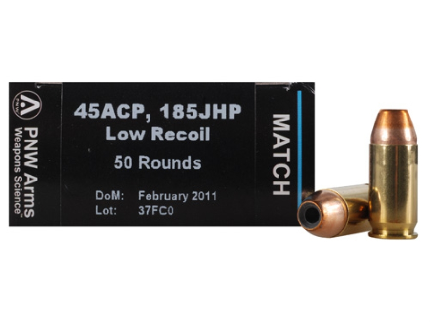 PNW Arms Match Ammunition 45 ACP 185 Grain Jacketed Hollow Point Box of 50