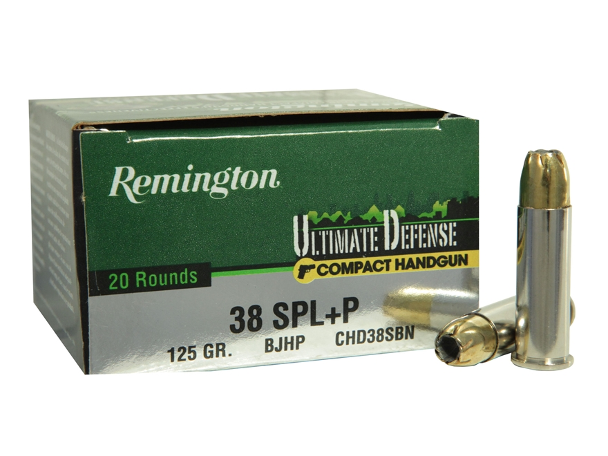 Remington Ultimate Defense Compact Handgun Ammunition 38 Special +P 125 Grain Brass Jac...
