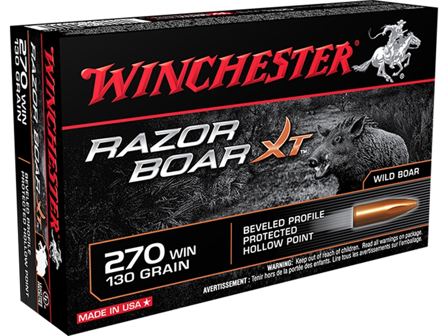 Winchester Razor Boar XT Ammunition 270 Winchester 130 Grain Hollow Point Lead-Free Box...
