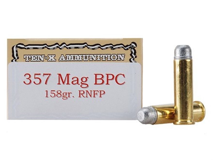 Ten-X Cowboy Ammunition 357 Magnum 158 Grain Lead Round Nose Flat Point BPC Box of 50