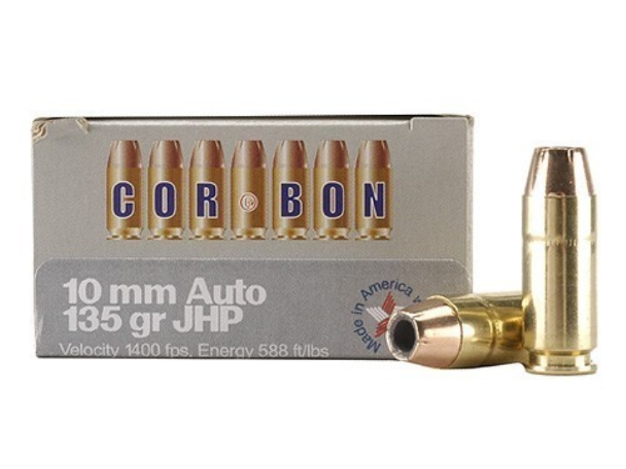 Cor-Bon Self-Defense Ammunition 10mm Auto 135 Grain Jacketed Hollow Point Box of 20
