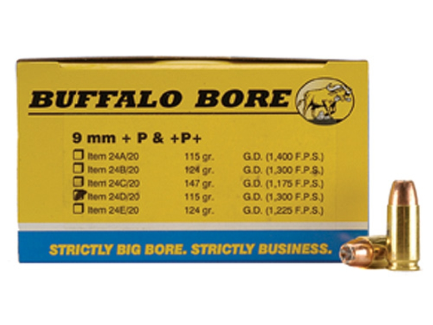 Buffalo Bore Ammunition 9mm Luger +P 115 Grain Jacketed Hollow Point Box of 20