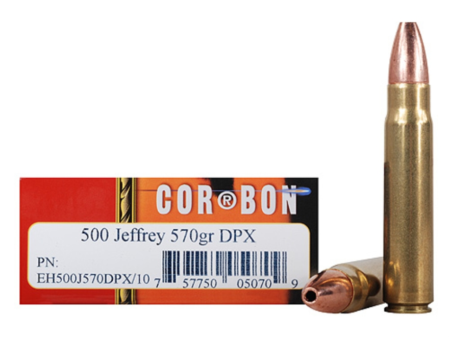 Cor-Bon Expedition DPX Hunter Ammunition 500 Jeffrey 570 Grain DPX Hollow Point Box of 10