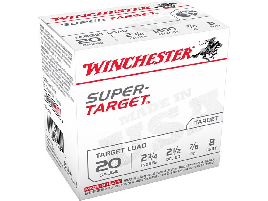 "Winchester Super-Target Ammunition 20 Gauge 2-3/4"" 7/8 oz #8 Shot"