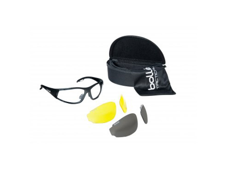 Bolle Tactical Rogue Shooting Glasses Matte Black Frame Clear, Yellow and Smoke Lenses
