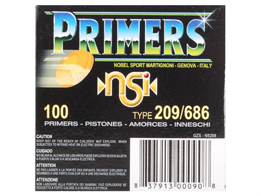 NobelSport Primers #209 Shotshell Box of 1000 (10 Trays of 100)