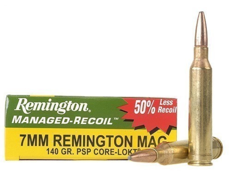 Remington Managed-Recoil Ammunition 7mm Remington Magnum 140 Grain Core-Lokt Pointed So...