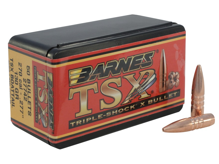 Barnes Triple-Shock X Bullets 270 Caliber (277 Diameter) 130 Grain Hollow Point Boat Ta...