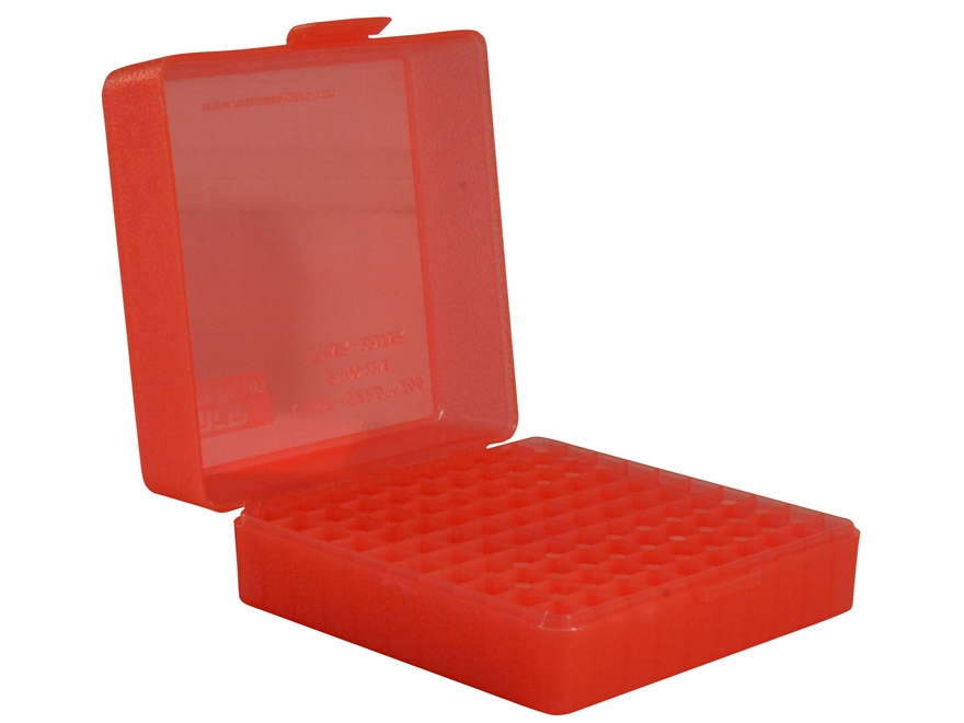 MTM Flip-Top Ammo Box 22 Magnum, 17 HMR 100-Round Plastic Clear Red