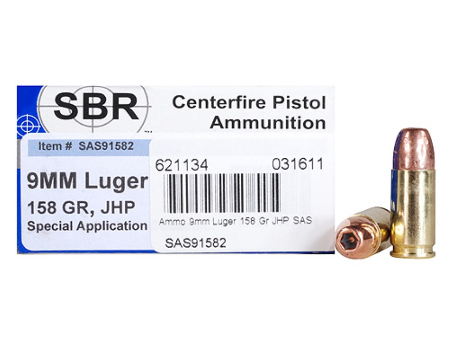 SBR Special Application Subsonic (SAS) Ammunition 9mm Luger 158 Grain Jacketed Hollow P...