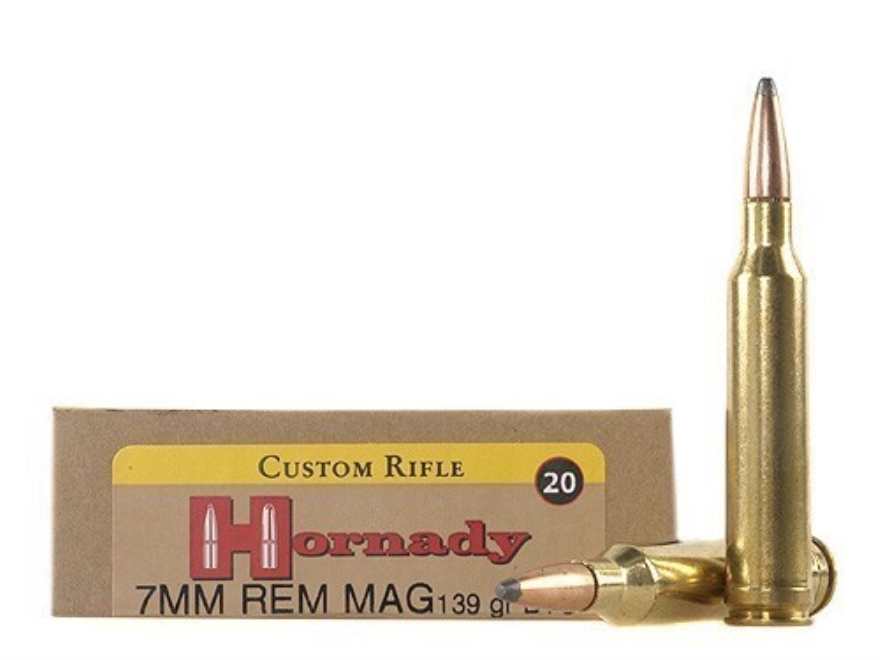 Hornady Custom Ammunition 7mm Remington Magnum 139 Grain InterLock Spire Point Boat Tai...