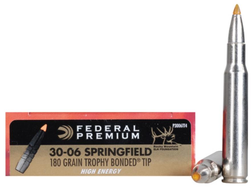 Federal Premium Vital-Shok Ammunition 30-06 Springfield 180 Grain Trophy Bonded Tip Hig...