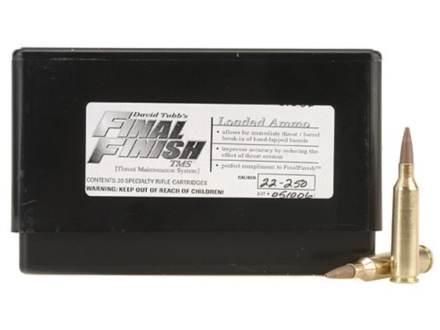 Tubb Final Finish Throat Maintenance System TMS Ammunition 22-250 Remington Box of 20