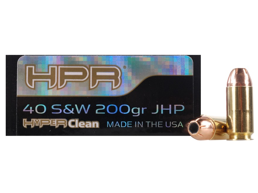 HPR HyperClean Ammunition 40 S&W 200 Grain Hornady XTP Jacketed Hollow Point Box of 50