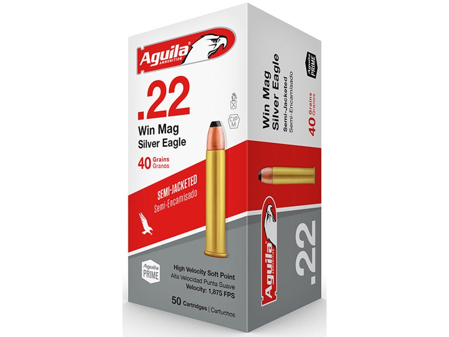 Aguila Silver Eagle Ammunition 22 Winchester Magnum Rimfire (WMR) 40 Grain Jacketed Sof...