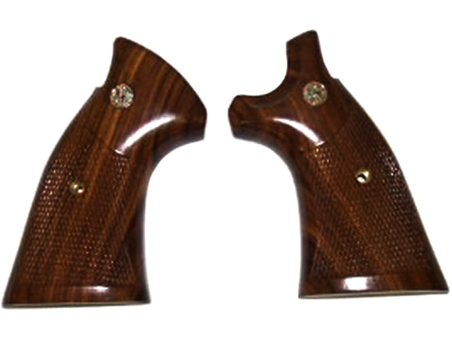Smith & Wesson Factory Grips S&W K, L-Frame Square Butt Checkered Hardwood with Medallions