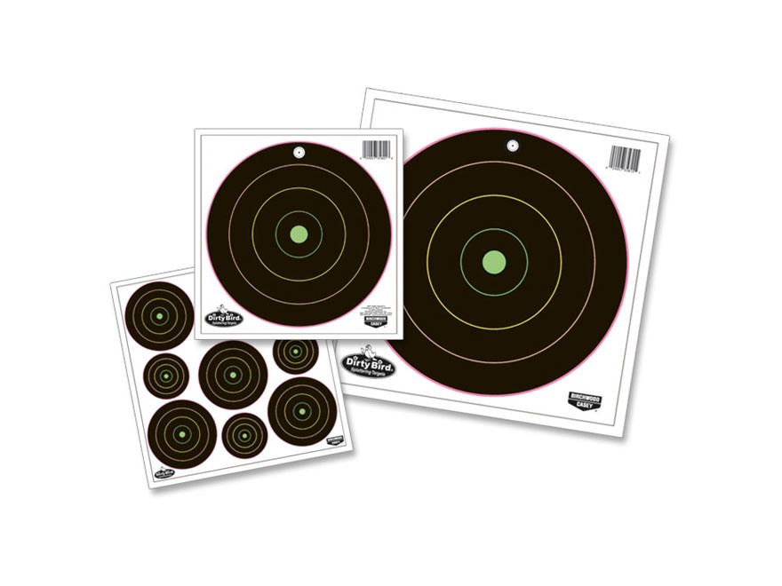 "Birchwood Casey Dirty Bird Multi-Color Bullseye Targets Package of 180 (80-2"" and 100-3"")"