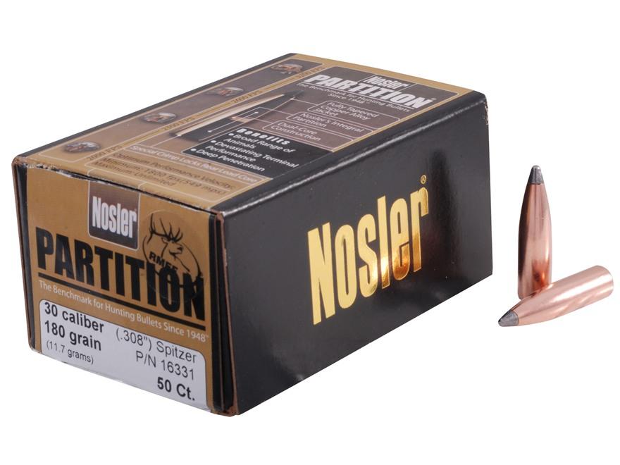 Nosler Partition Bullets 30 Caliber (308 Diameter) 180 Grain Spitzer Box of 50