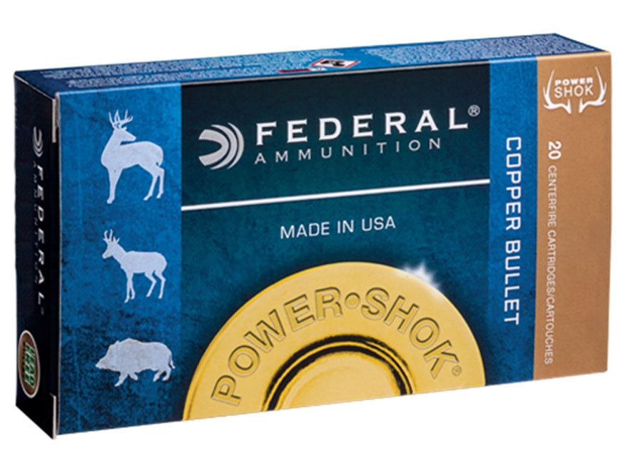 Federal Power-Shok Ammunition 300 Winchester Magnum 180 Grain Copper Hollow Point Lead-...
