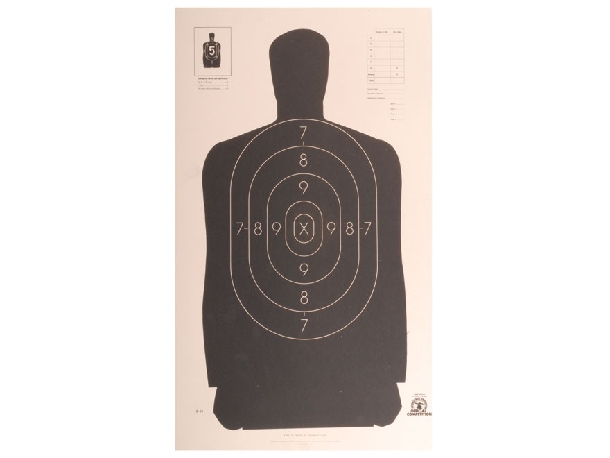 NRA Official Silhouette Targets B-34 25-Yard Paper Pack of 100