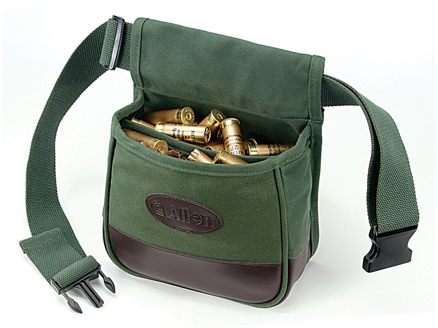 Allen Shooters Divided Shotgun Shell Pouch With Adjustable Belt Canvas Green on leather cartridge box