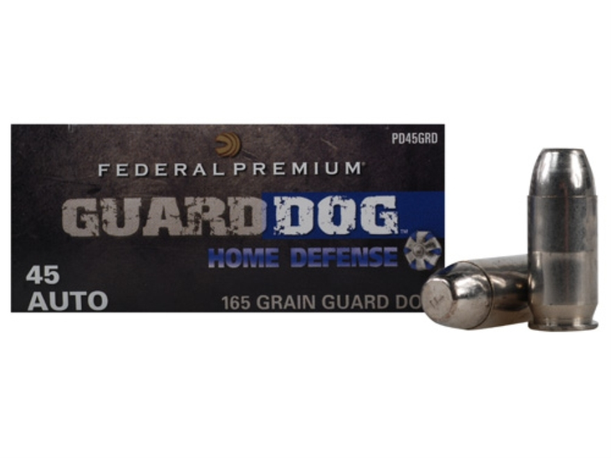 Federal Premium Guard Dog Home Defense Ammunition 45 ACP 165 Grain Expanding Full Metal...