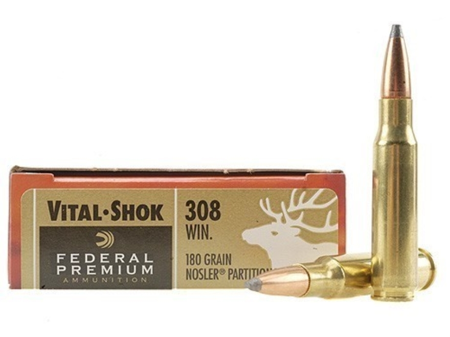 Federal Premium Vital-Shok Ammunition 308 Winchester 180 Grain Nosler Partition Box of 20