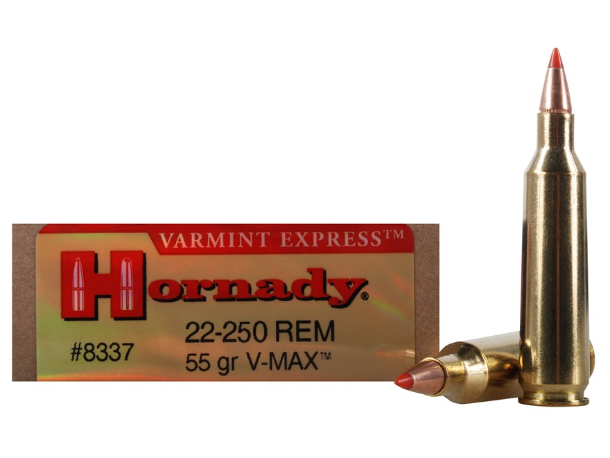 Hornady Varmint Express Ammunition 22-250 Remington 55 Grain V-Max Box of 20