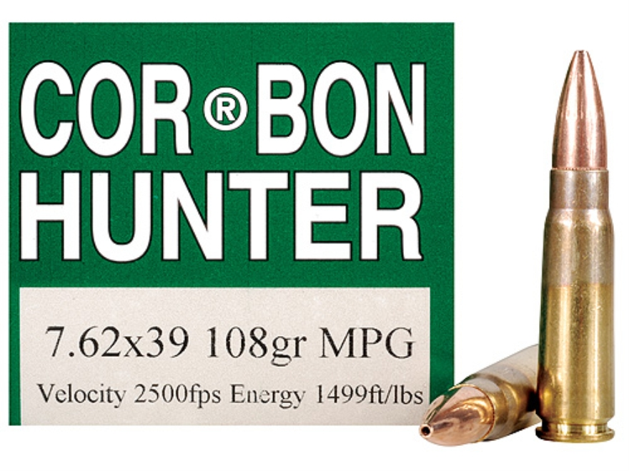 Cor-Bon Ammunition 7.62x39mm 108 Grain Barnes Multi-Purpose Green (MPG) Hollow Point Le...