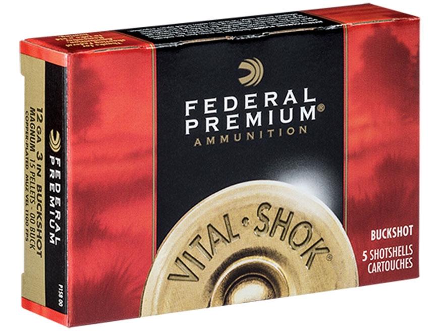 "Federal Premium Vital-Shok Ammunition 12 Gauge 3"" Buffered 00 Copper Plated Buckshot 15..."