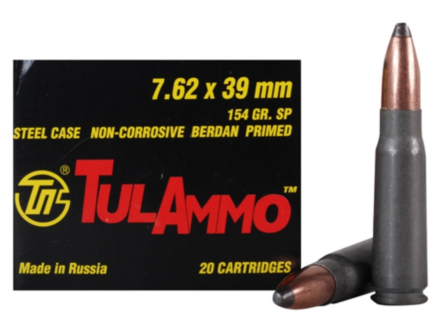 TulAmmo Ammunition 7.62x39mm 154 Grain Soft Point (Bi-Metal) Steel Case Berdan Primed B...