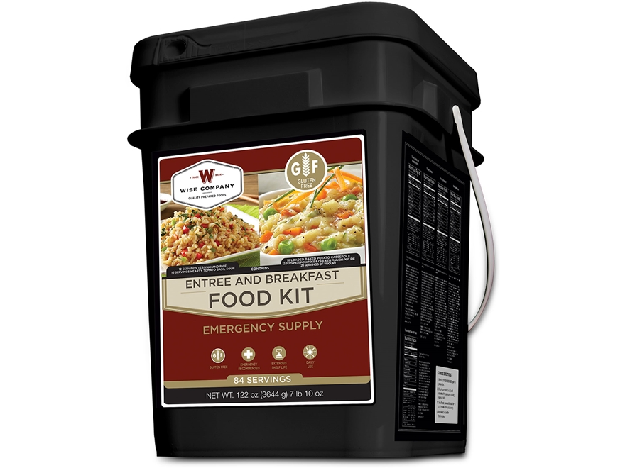 Wise Food Gluten Free 84 Serving Breakfast and Entree Grab & Go Freeze Dried Food Kit
