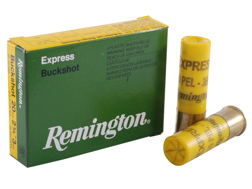 "Remington Express Ammunition 20 Gauge 2-3/4"" #3 Buckshot 20 Pellets Box of 5"