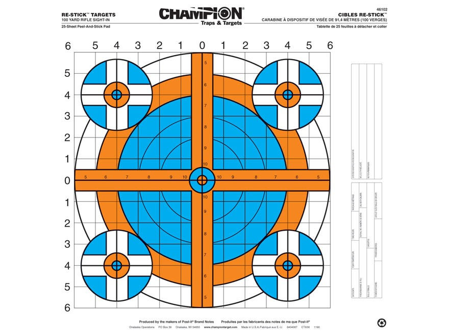 "Champion Re-Stick 100 Yard Rifle Sight-In Self-Adhesive Targets 16"" x 16"" Paper Pack of 25"